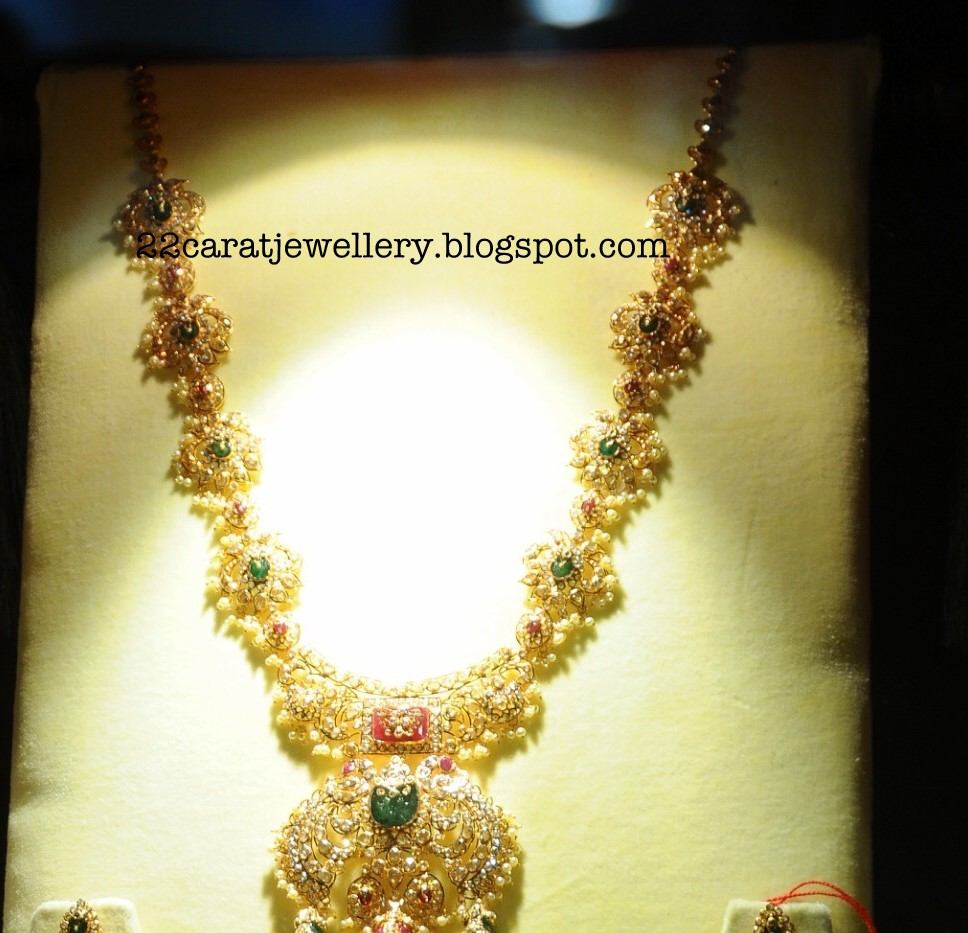 22 Carat Gold Uncut Diamond Long Chain Studded with Rubys and ...