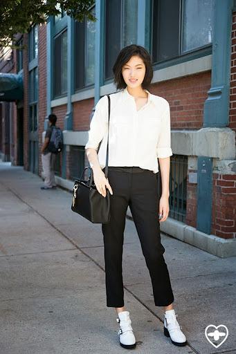 Chi Harun; model; Equipment shirt; Alexander Wang trousers; Topshop shoes; Fendi bag;