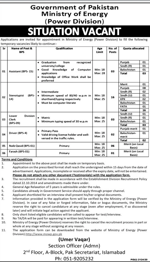 Ministry Of Energy Jobs October 2020