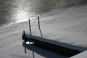 A snow covered dock on Gull River