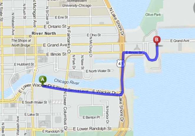 Map from Hyatt to Navy Pier