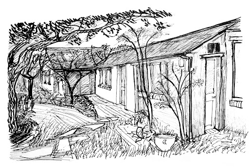 The Olney Pottery  Pen & ink