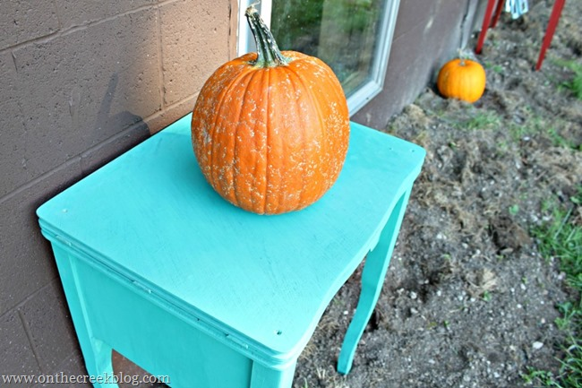 sewing table decorated for fall