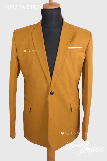 seven domu blazer single button mustard+bk04+ +2