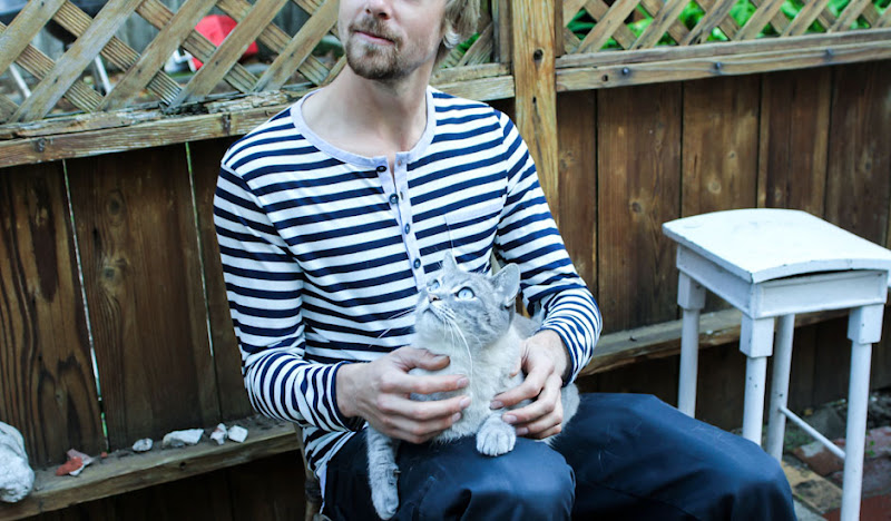 Navy Striped Henley Cat in Lap