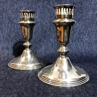 Sterling Silver Empire Candlestick Pair