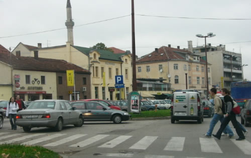 The Bosnian provincial capitol of Bihac.  It's a university city with many students and a somewhat lively downtown.