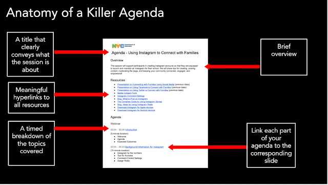Screenshot of an agenda with all the elements stated in the article