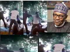 LIVE!!! Two Men Fights, Exchange Heavy Blows While Arguing Over President Buhari (VIDEO)