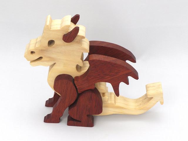 Handmade Wood Toy Dragon
