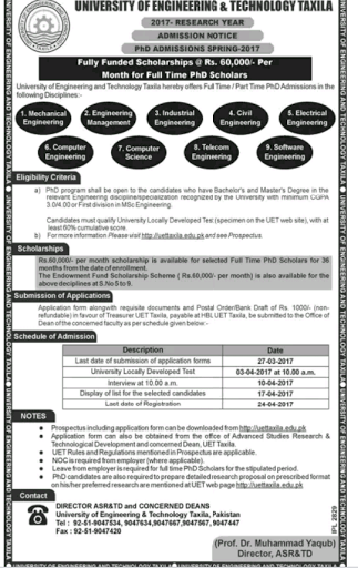 Fully Funded Ph.D Scholarship In Civil Engineering At UET Taxila