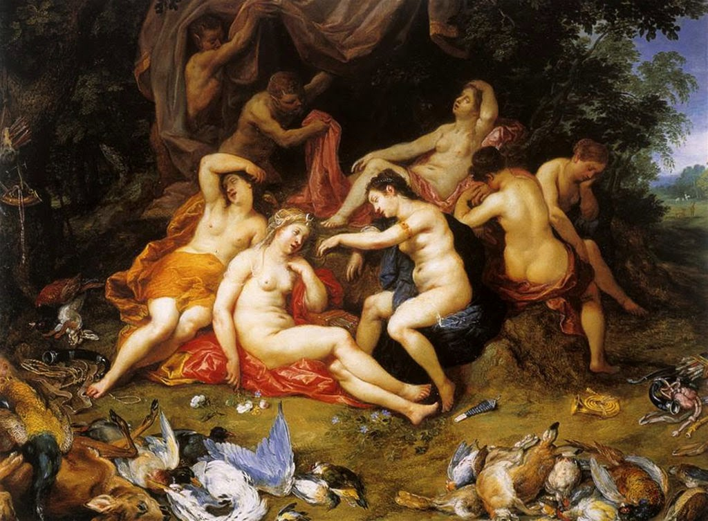 Hendrick van Balen - Diana and Her Nymphs Asleep, Spied Upon by Satyrs (1620)