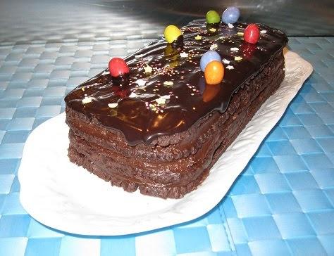 Bûche biscuitée très chocolat pour Pâques