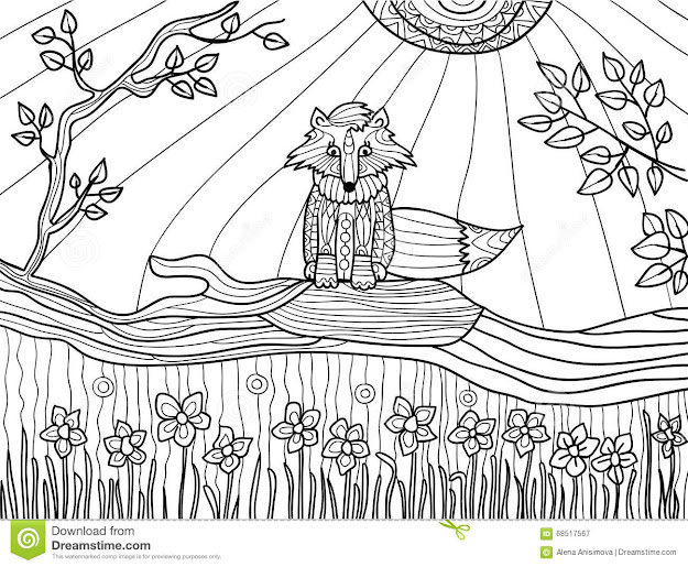 Coloring Book Pages For Adults Funny Fox Cub On Fallen Tree Vector