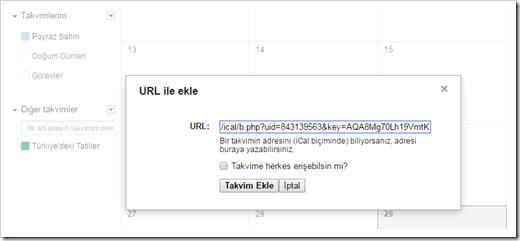 google-takvim-url-ekle