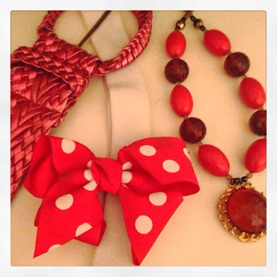 Cute, Bright Pink Pin Up Style Accessories with Handmade Necklace, Polka Dow Bow and Thick Weave Belt