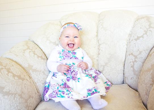 Little Miss Lottie, 3 months old | Lavender & Twill