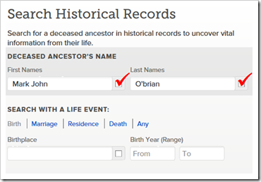 FamilySearch Historical Records search form with the Exact boxes checked