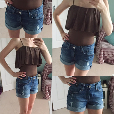 River Island Khaki frilly bodysuit & boyfriend denim shorts