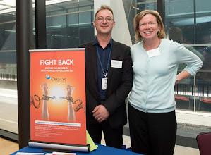Photo: Dr Steven Petratos with Ms Margy White, BristolMyersSquibb (BMS) sponsor representative. http://www.med.monash.edu.au/cecs/events/2015-tr-symposium.html