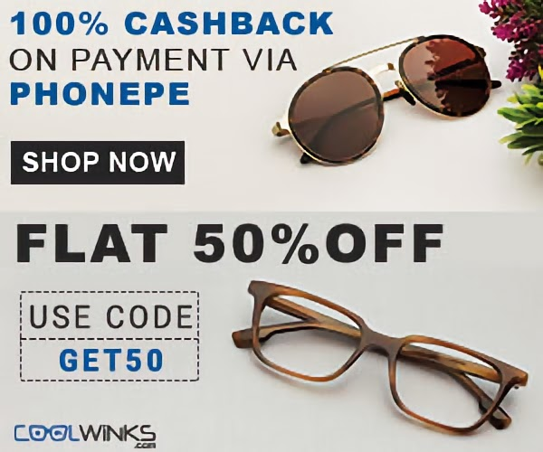 CoolWinks - Get 2 Sunglasses Free (Worth Rs.500) + Rs.450 in Bank