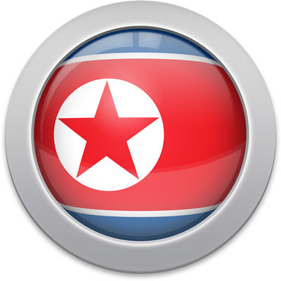North Korean flag icon with a silver frame