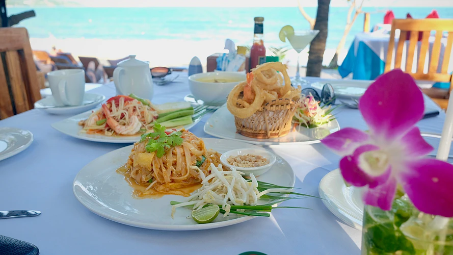 Thai food by the beach in Koh Samui.