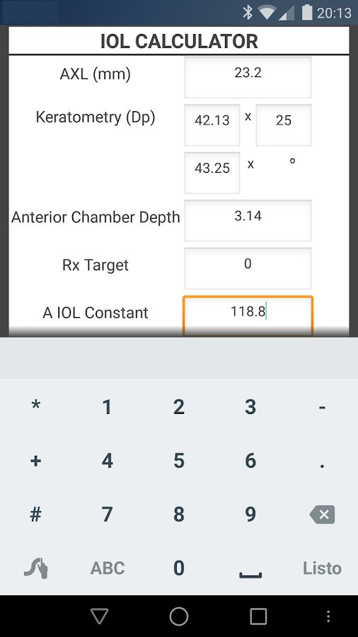 IOL CALCULATOR- screenshot