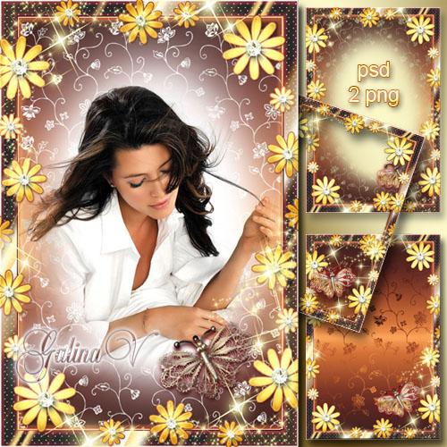 Гламурная рамка - Прикосновение золотой бабочки