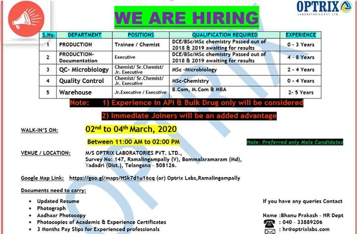Optrix Lab Ltd – Walk in interview for Production, Quality Control, Warehouse on 2nd to 4th March 2020