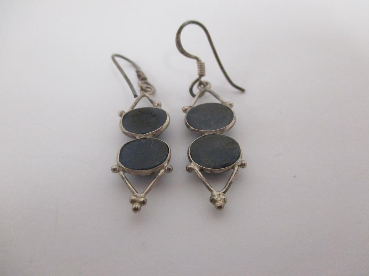 Sterling Silver Double Stone Earrings