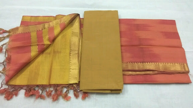 orange color Mangalagiri Semi Silk Dress materilas