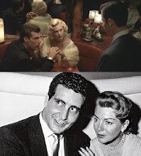 """Photo: A cena com o casal Johnny Stompanatto e Lana Turner no filme""""Los Angeles, Cidade Proibida"""" e uma foto real dos dois juntos."""