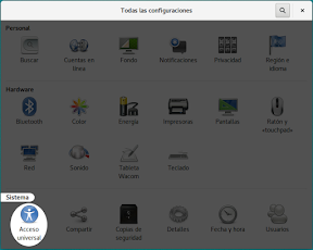 Configurar el sistema. Accesibilidad en Linux y otros. Portada. Acceso Universal.