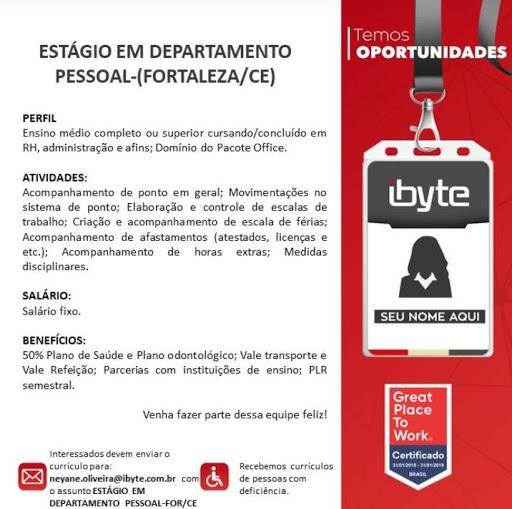 Vagas Compartilhadas de emprego Ceará: Ibyte Estágio de RH