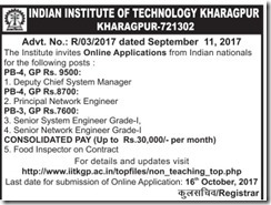 IIT Kharagpur Non-Teaching Notice 2017 www.indgovtjobs.in