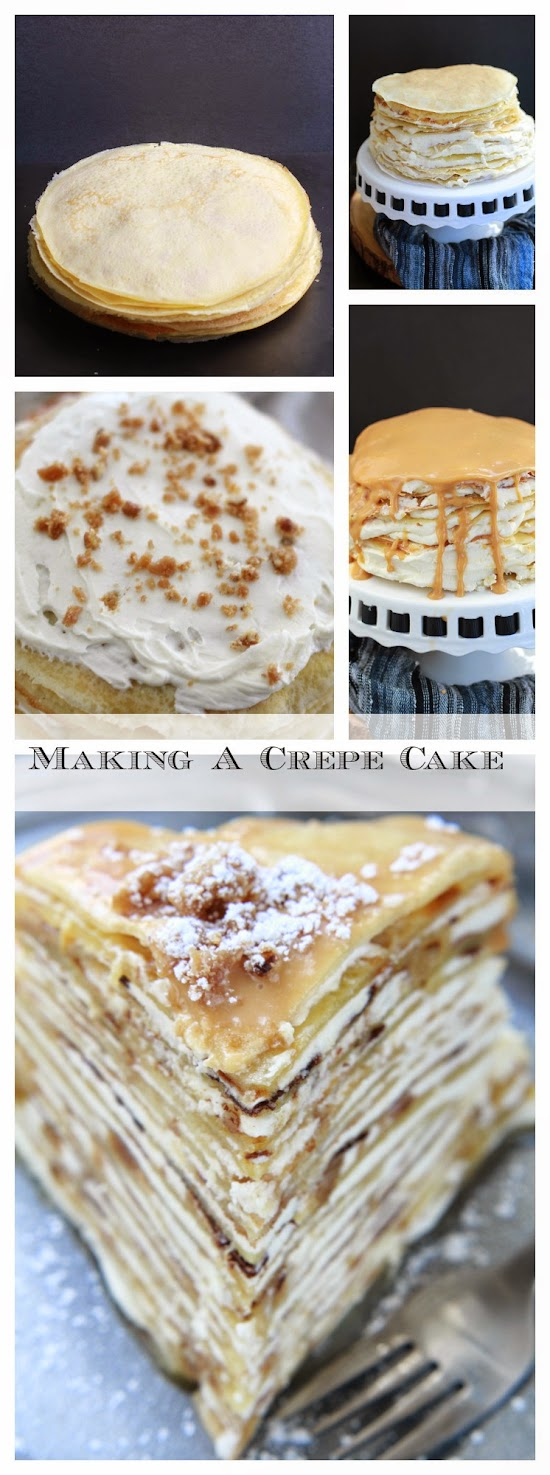 Maple Pecan Praline Crepe Cake - steps to fill and stack a crepe cake..jpg
