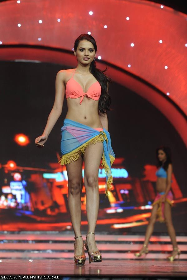 Bikini babe Gail Nicole Da Silva during the Pond's Femina Miss India 2013 contest, held at Yash Raj Studios, in Mumbai, on March 24, 2013.