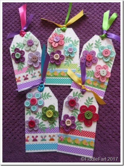 Easter Button Brooches on Gift Tag 33333