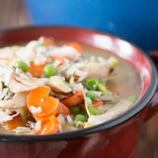 Chicken Wild Rice Soup with Leeks.