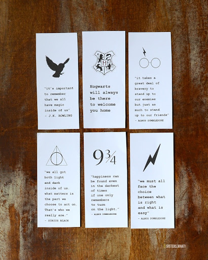 picture about Printable Harry Potter Quotes named Impressive Harry Potter Printable Bookmarks - Sisters, What!