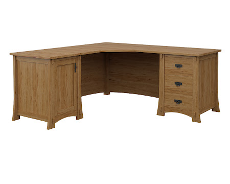 Seville L-Shaped Desk in Classical Maple