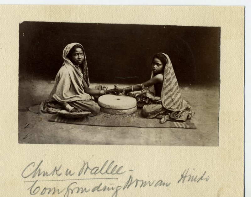 Indian Women Grinding Corn - 1880's