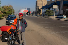 Cycling out of Cairo on a Friday morning with low traffic.
