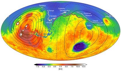 mapa atual de Marte