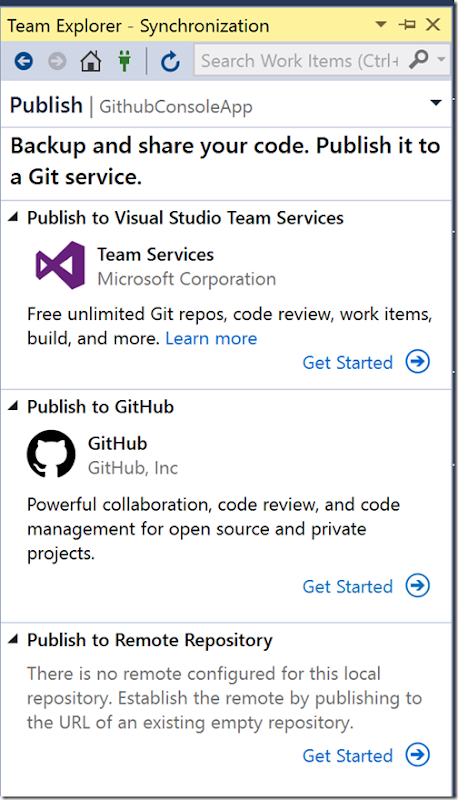 Publishing existing applications to Github with Visual