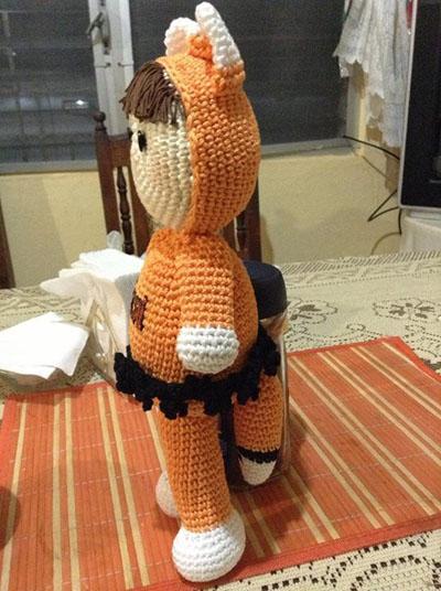 Amigurumi disfazado de zorro - Amigurumi fox costume