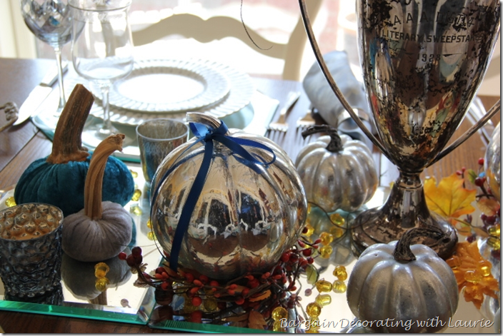 Mercury Glass and Velvet Pumpkins for Fall Table