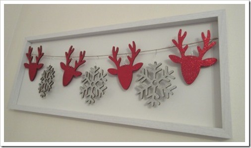 Christmas reindeer and snowfalke dimensional frame