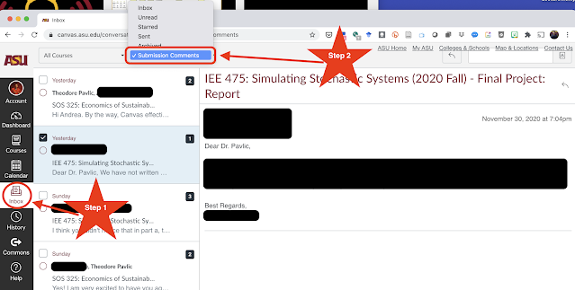 "Shows where to find ""Inbox"" and ""Submission Comments"" in Canvas LMS"